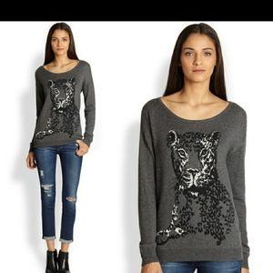 Joie shirlene intarsia leopard sweater gray/whitem